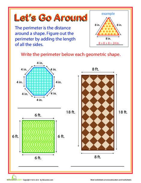 Third Grade Math Worksheets: Let's Go Around! Exploring Perimeter