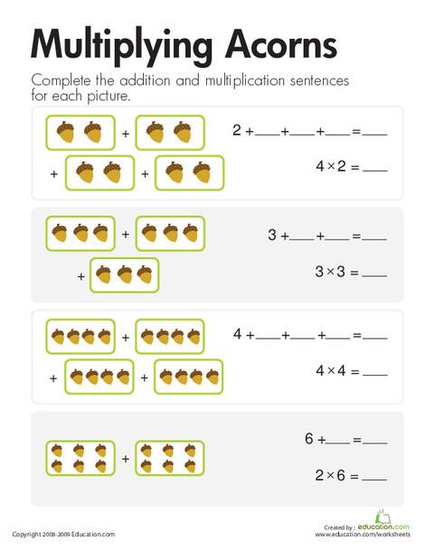 Second Grade Math Worksheets: Multiplication: Add & Multiply Acorns