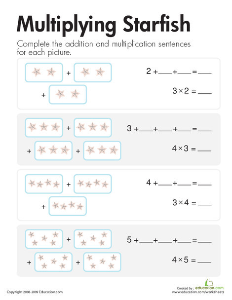 Second Grade Math Worksheets: Multiplication: Add & Multiply Starfish