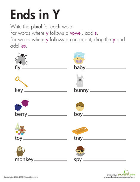 Second Grade Reading & Writing Worksheets: Change Nouns Ending in Y to IES