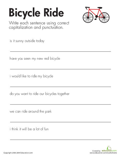 Second Grade Reading & Writing Worksheets: Fix the Sentences: Bicycle Ride