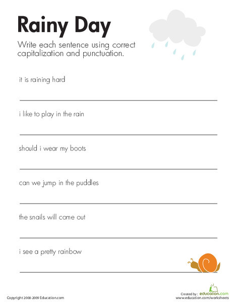 Second Grade Reading & Writing Worksheets: Fix the Sentences: Rainy Day