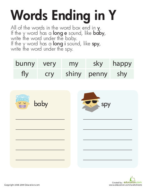 """Second Grade Reading & Writing Worksheets: Vowel Sounds: Y as Long """"E"""" and Long """"I"""""""