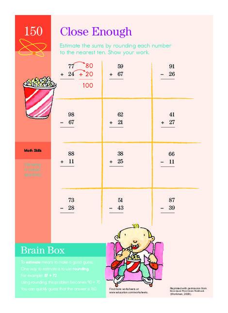 Third Grade Math Worksheets: Close Enough