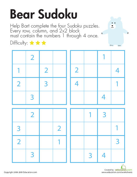 Second Grade Math Worksheets: Bear Sudoku
