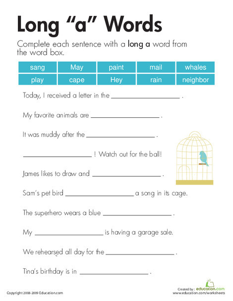 """Second Grade Reading & Writing Worksheets: Long """"a"""" Sound"""