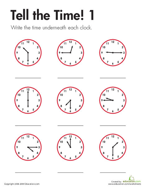 Second Grade Math Worksheets: Tell the Time! 1