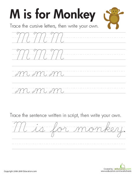 "Third Grade Reading & Writing Worksheets: Cursive Handwriting: ""M"" is for Monkey"