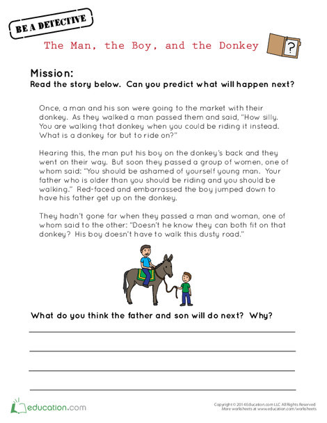Third Grade Reading & Writing Worksheets: The Man, the Boy, and the Donkey
