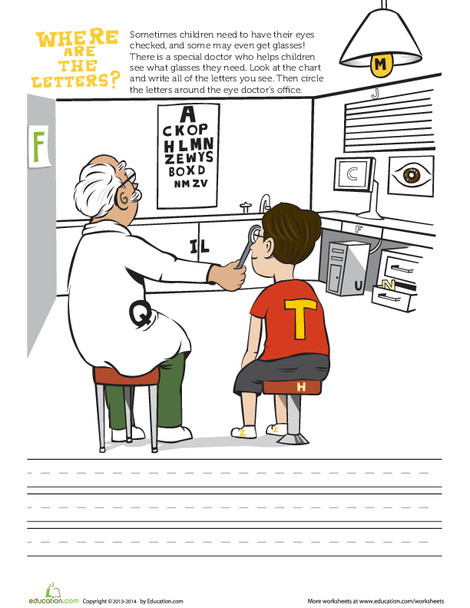 Preschool Social studies Worksheets: Eye Doctor