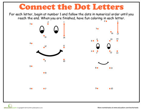Kindergarten Reading & Writing Worksheets: Dot-to-Dot Alphabet: F