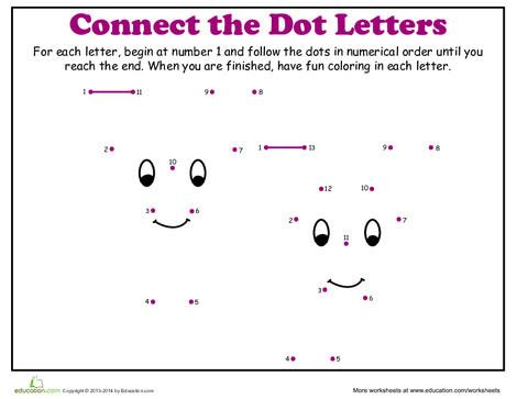 Kindergarten Reading & Writing Worksheets: Dot-to-Dot Alphabet: Y