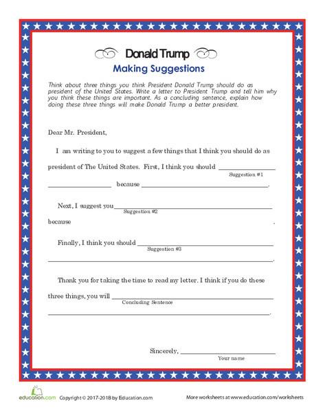 Second Grade Social studies Worksheets: Letter to Trump
