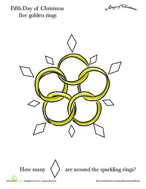 Preschool Math Worksheets: Five Golden Rings