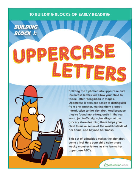 Preschool Reading & Writing Worksheets: Early Reading Building Block 1: Uppercase Letters