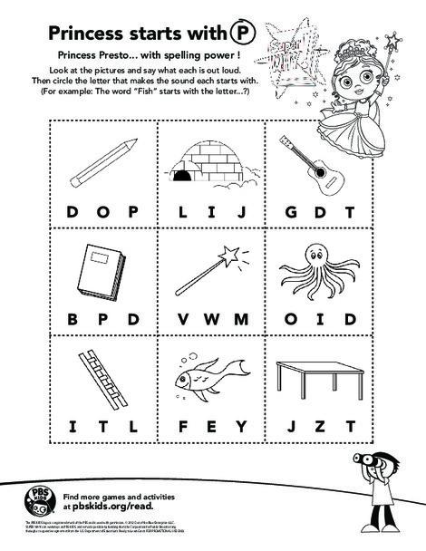 Kindergarten Reading & Writing Worksheets: Spelling Powers with Princess Presto!