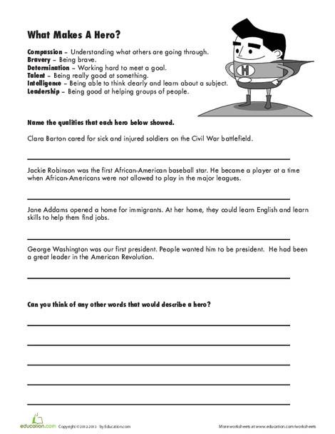 Third Grade Social studies Worksheets: What Makes a Hero?