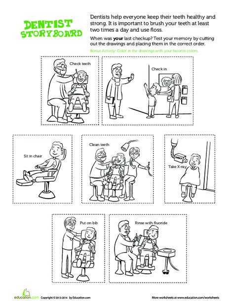 Preschool Social studies Worksheets: Going to the Dentist
