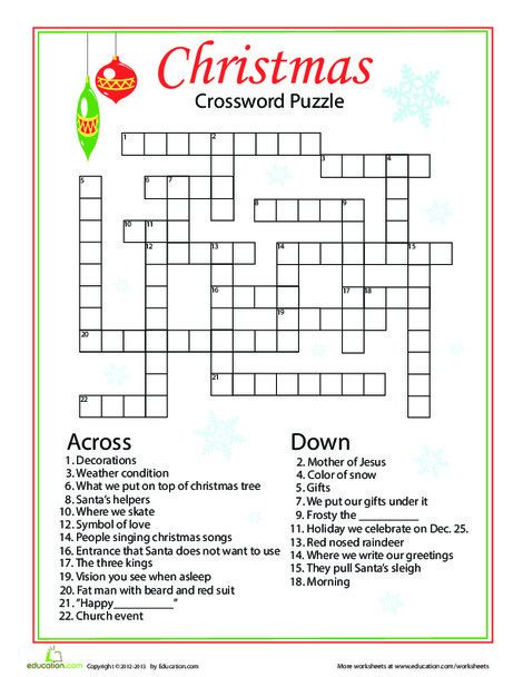 Fourth Grade Holidays Worksheets: Christmas Words