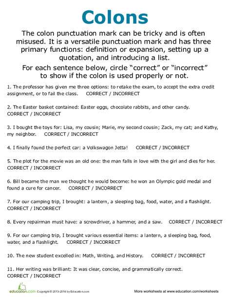 Fifth Grade Reading & Writing Worksheets: Colon Usage