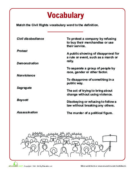 Fifth Grade Reading & Writing Worksheets: Civil Rights Vocabulary