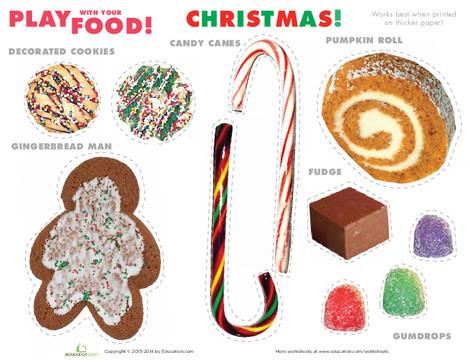 Preschool Holidays Worksheets: Christmas Play Food