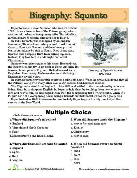 Fifth Grade Social studies Worksheets: Squanto Biography