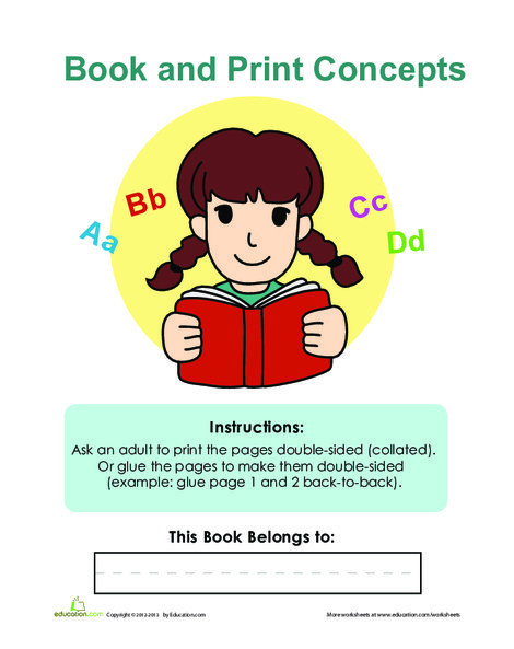 Preschool Reading & Writing Worksheets: Book and Print Concepts Cover Page