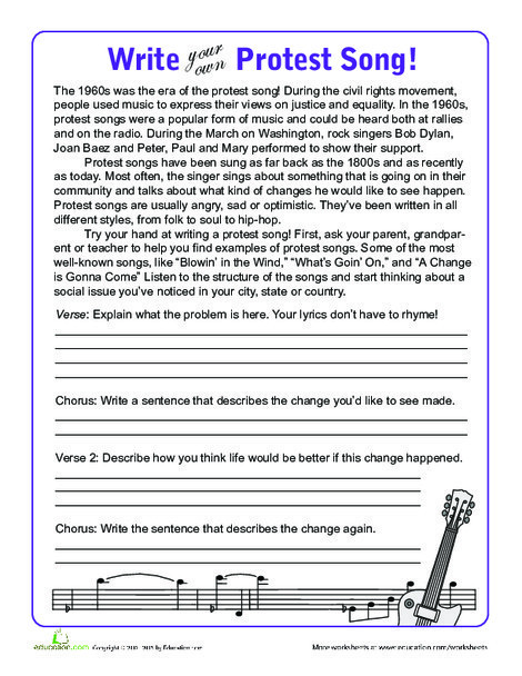 Fifth Grade Seasons Worksheets: Protest Songs