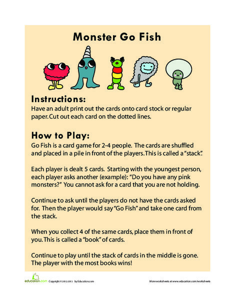 First Grade Holidays Worksheets: Monster Go Fish
