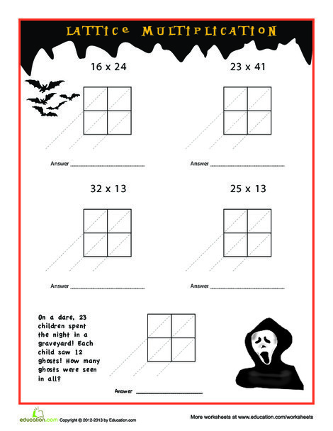Third Grade Math Worksheets: Spooky Lattice Multiplication