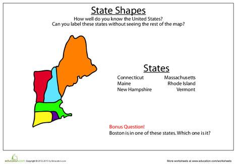 Third Grade Social studies Worksheets: State Shapes: New England