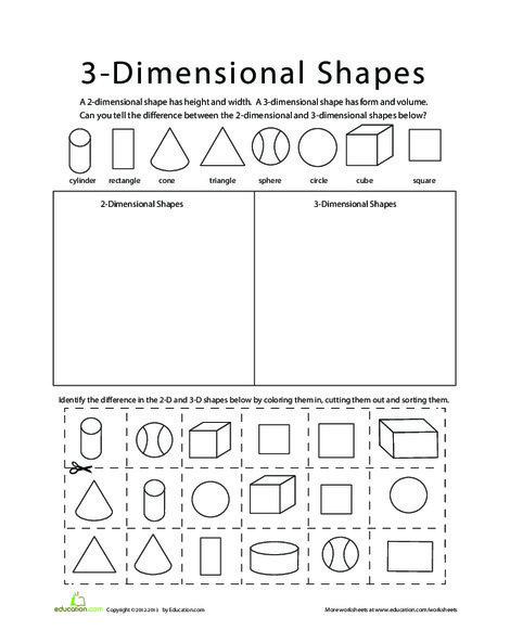Kindergarten Math Worksheets: Sort 2D and 3D Shapes