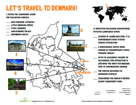 Fifth Grade Social studies Worksheets: Denmark Landmarks