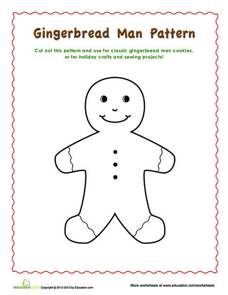 Second Grade Arts & crafts Worksheets: Gingerbread Man Pattern