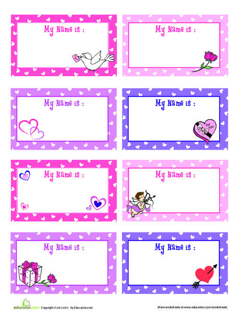 First Grade Reading & Writing Worksheets: Valentine's Day Name Tag