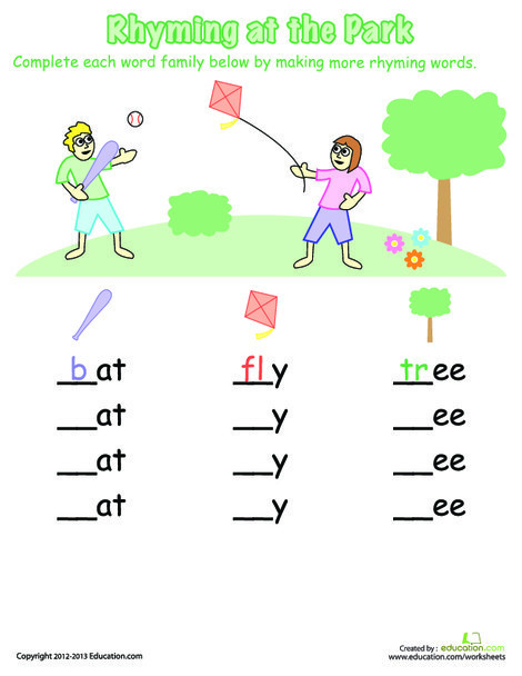First Grade Reading & Writing Worksheets: Rhyming At The Park