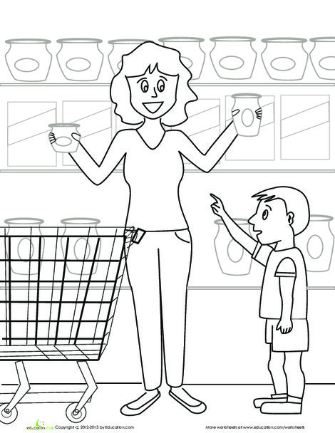 Kindergarten Coloring Worksheets: Grocery Store Coloring Page