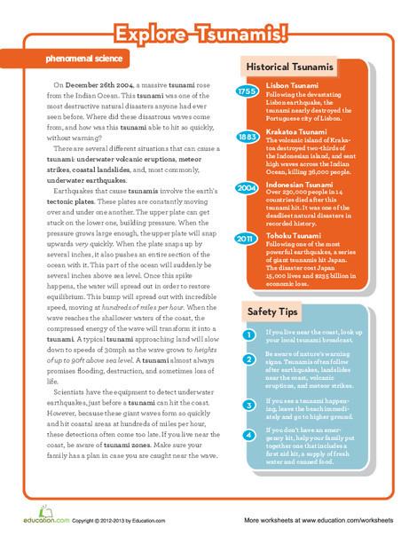 Fifth Grade Reading & Writing Worksheets: Tsunami Science