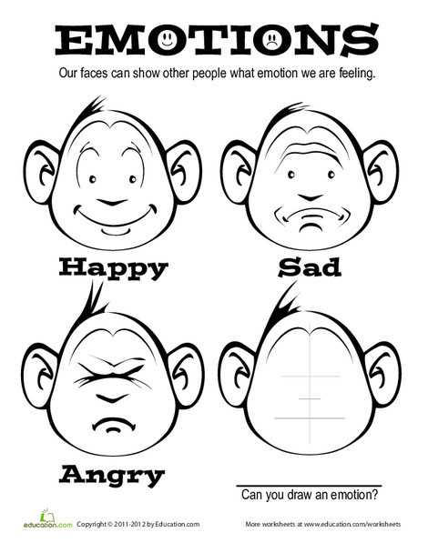 First Grade Coloring Worksheets: Emotions Coloring Page