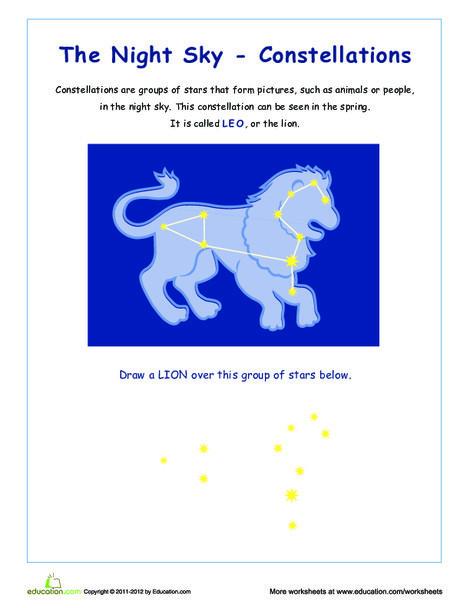Third Grade Science Worksheets: Constellations: Leo
