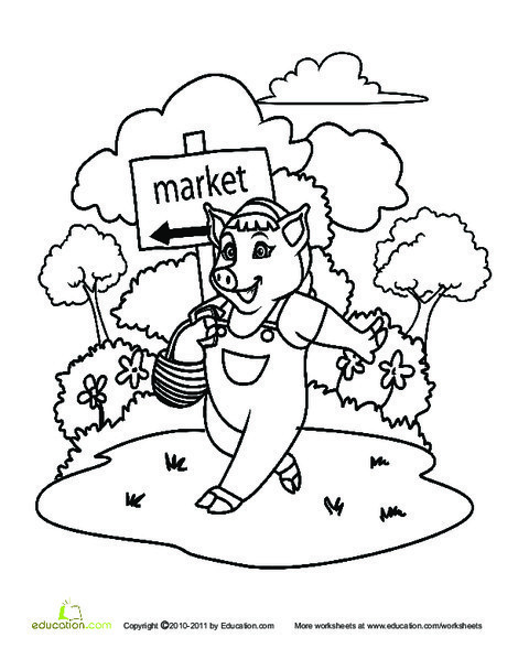 Kindergarten Coloring Worksheets: This Little Piggy Went to Market...