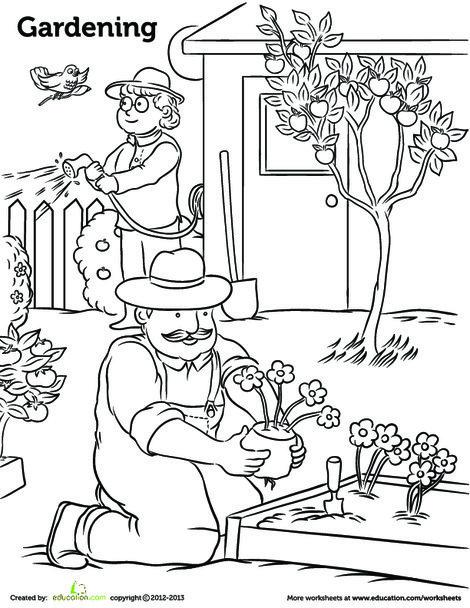 Kindergarten Coloring Worksheets: Gardening Coloring Page