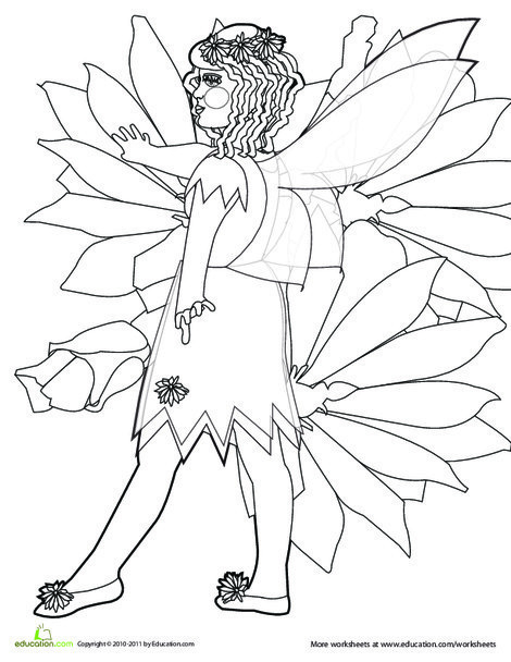 Preschool Coloring Worksheets: Fairy Coloring Picture