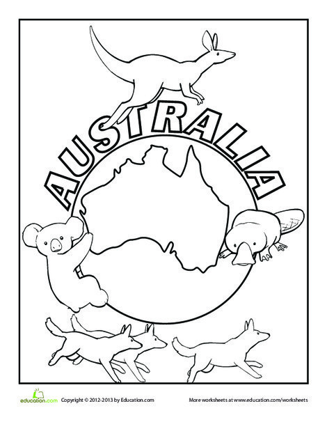 First Grade Coloring Worksheets: Australia Coloring Page