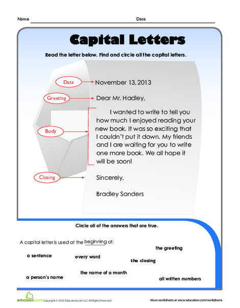 First Grade Reading & Writing Worksheets: Capital Letters