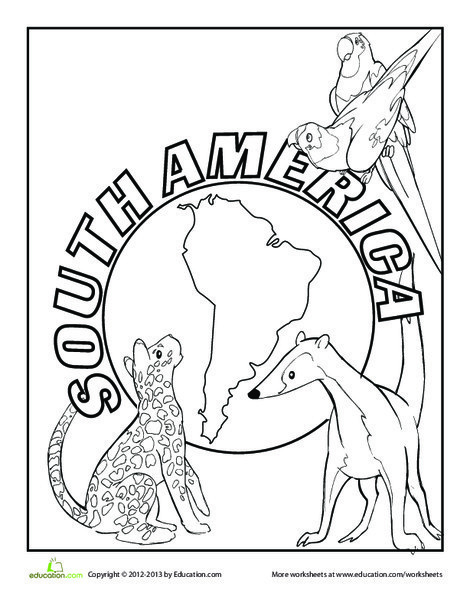 First Grade Coloring Worksheets: South America Coloring Page
