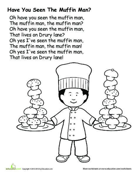 Preschool Fine arts Worksheets: The Muffin Man