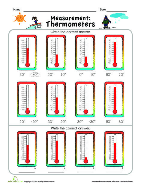 Second Grade Math Worksheets: Measurement Mania: Thermometers