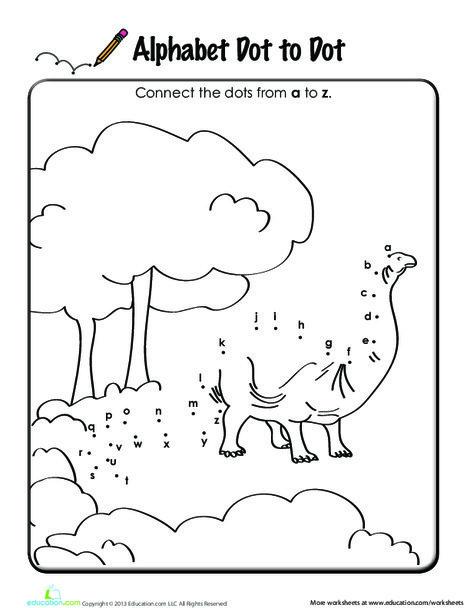 Kindergarten Reading & Writing Worksheets: Alphabet Dot to Dot: Dinosaur